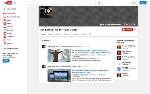 Screenshot of YouTube Page youtube.com - Nat & Mase | Go To Travel Guides  - YouTube - captured Oct. 22, 2014