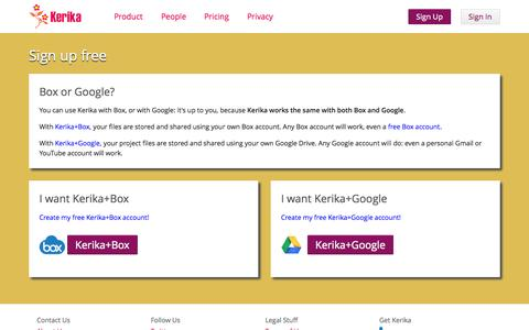 Screenshot of Signup Page kerika.com - Kerika: Sign up with your Google or Box ID - captured Sept. 23, 2014