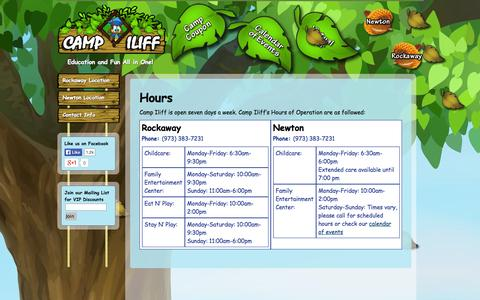 Screenshot of Hours Page campiliff.com - Hours of Operation - Camp Iliff - captured Oct. 1, 2014