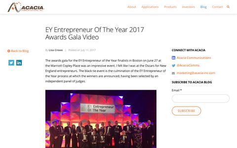 EY Entrepreneur Of The Year 2017 Awards Gala Video - Acacia Communications, Inc.