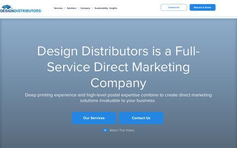 Screenshot of Home Page designdistributors.com - Design Distributors, Your Complete Direct Marketing Solutions Company - captured Aug. 6, 2018