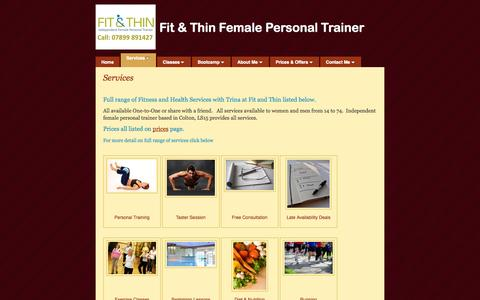 Screenshot of Services Page fitandthin.org - Services | Fit & Thin Female Personal Trainer | Fit and Thin - captured Sept. 30, 2014