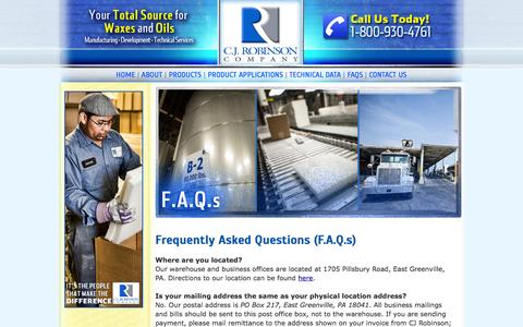 Screenshot of FAQ Page cjrobinson.com - C.J. Robinson Company   Leading Manufacturer of Waxes & Oils with Unsurpassed Equipment, Production, and Customer Service. - captured Oct. 1, 2014