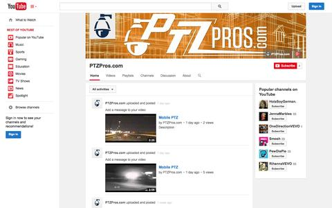 Screenshot of YouTube Page youtube.com - PTZPros.com  - YouTube - captured Oct. 22, 2014