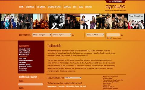 Screenshot of Testimonials Page dgmusic.co.uk - Testimonials - captured Oct. 5, 2014
