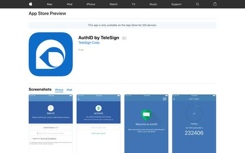 AuthID by TeleSign on the AppStore