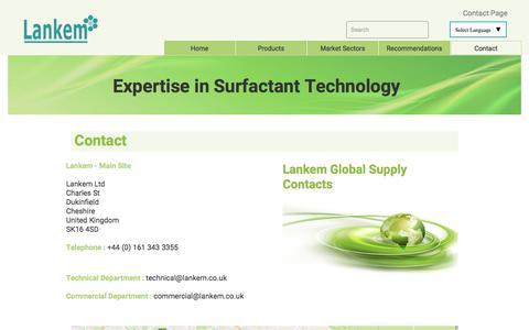 Screenshot of Contact Page lankem.eu - Contact ¦ Lankem Surfactants - captured July 5, 2017