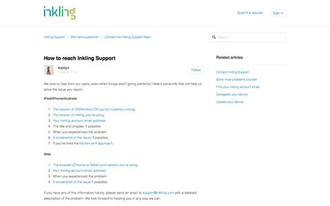 How to reach Inkling Support – Inkling Support