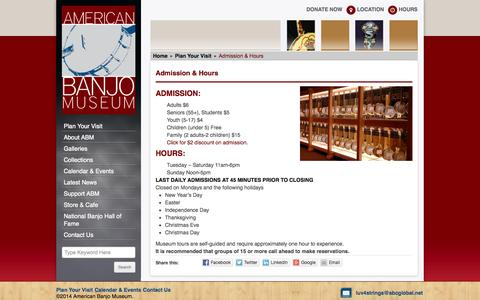 Screenshot of Hours Page americanbanjomuseum.com - Admission & Hours | American Banjo MuseumAmerican Banjo Museum - captured Sept. 30, 2014