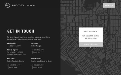 Screenshot of Contact Page hotelmaxseattle.com - Get in Touch | Hotel Max - captured Sept. 30, 2018