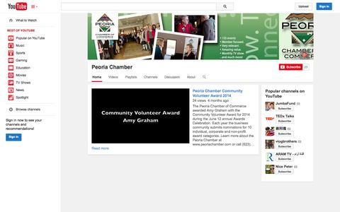 Screenshot of YouTube Page youtube.com - Peoria Chamber  - YouTube - captured Oct. 23, 2014