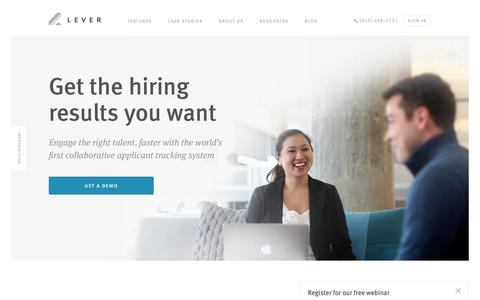 Screenshot of Home Page lever.co - Lever   Applicant Tracking System - captured April 7, 2016