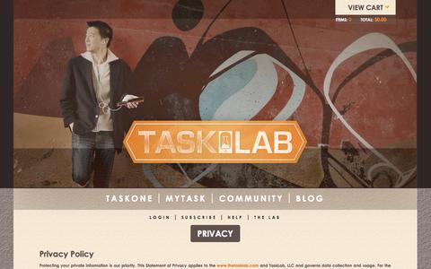 Screenshot of Privacy Page thetasklab.com - Privacy | Tasklab - captured Sept. 25, 2014