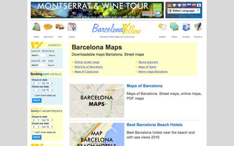 Screenshot of Maps & Directions Page barcelonayellow.com - Barcelona 2016 - Maps of Barcelona streets and districts - captured Feb. 3, 2016