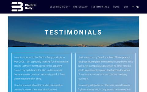 Screenshot of Testimonials Page electricbody.eu - Testimonials - Electric Body - captured Sept. 27, 2018