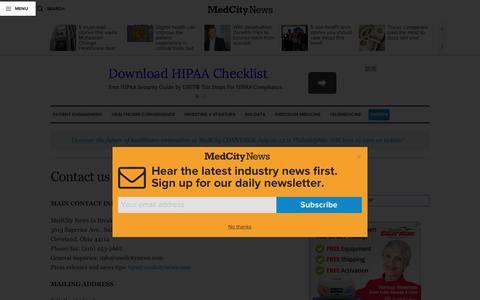 Screenshot of Contact Page medcitynews.com - Contact us - MedCity NewsMedCity News - captured July 4, 2016