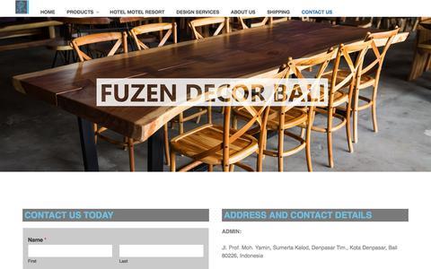 Screenshot of Contact Page fuzendecorbali.com - Contact us   Furniture Manufacturers and Handicrafts Suppliers   FUZEN DECOR BALI - captured Aug. 21, 2019
