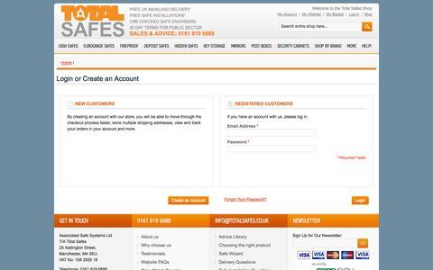 Screenshot of Login Page totalsafes.co.uk - Customer Login - captured Oct. 9, 2014