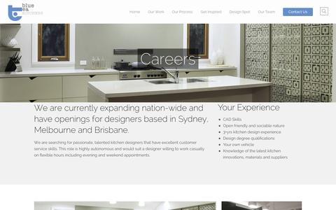 Screenshot of Jobs Page bluetea.com.au - Careers | Custom Kitchens Sydney - captured Feb. 7, 2016
