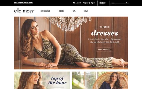Screenshot of Home Page ellamoss.com - Ella Moss速 | Modern Bohemian Clothing for Women & Girls - captured Sept. 20, 2015
