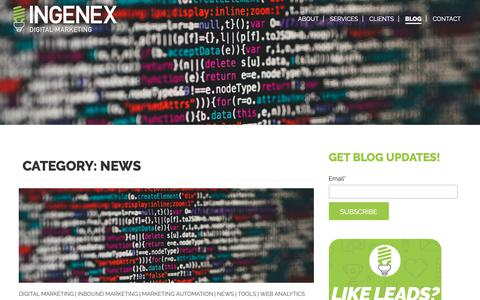Screenshot of Press Page ingenexdigital.com - News Archives - Ingenex Digital Marketing - captured Nov. 7, 2018