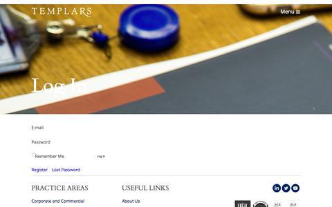 Screenshot of Login Page templars-law.com - Log In - Templars - Nigerian Law Firm of the Year - captured Nov. 16, 2017