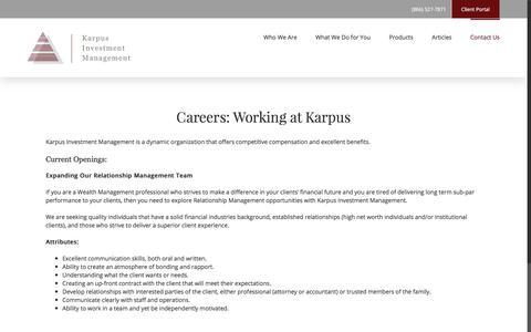 Screenshot of Jobs Page karpus.com - Investment Management Careers | Karpus Investment Management - captured Oct. 17, 2017