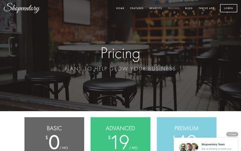Screenshot of FAQ Page Pricing Page shopventory.com - Pricing Ń Shopventory - captured Dec. 4, 2015
