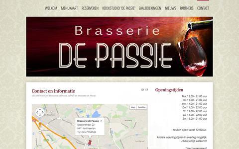 Screenshot of Contact Page brasseriedepassie.nl - Brasserie de Passie - Contact - captured Sept. 30, 2014