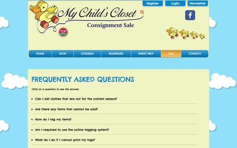 Screenshot of FAQ Page mychildscloset.com - My Child's Closet: Loudoun Co's Premier Children's Consignment Sale! | FAQ - captured Nov. 2, 2017