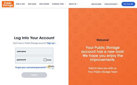 Screenshot of Login Page publicstorage.com - Account Log In   Public Storage - captured June 5, 2019