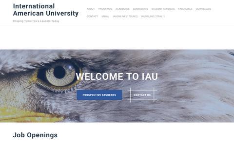 Screenshot of Jobs Page iau.la - Job Openings – International American University - captured Oct. 15, 2017
