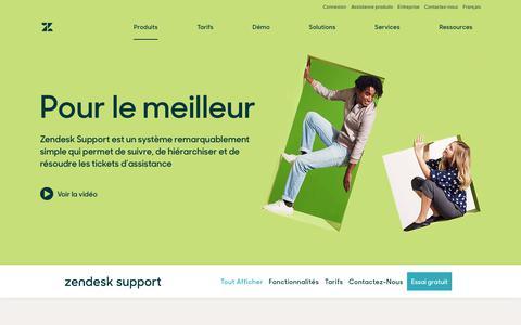 Screenshot of Support Page zendesk.fr - Logiciel de service client et de tickets d'assistance avec Zendesk Support - captured Oct. 5, 2018