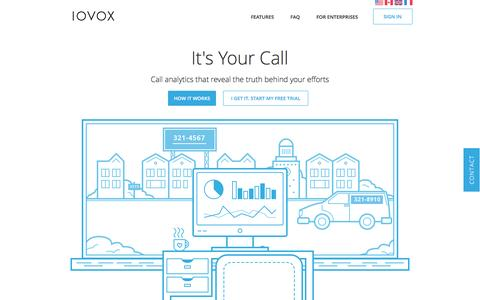 Screenshot of Home Page iovox.com - IOVOX | real time call tracking & analytics - captured July 4, 2016