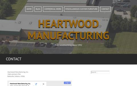 Screenshot of Contact Page heartwoodmfg.com - Contact | Heartwood Manufacturing - captured Nov. 6, 2016