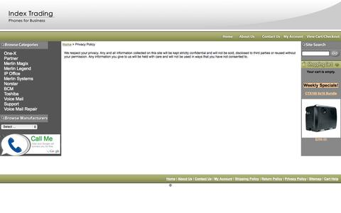 Screenshot of Privacy Page indextrading.com - Index Trading - Privacy Policy - captured Sept. 30, 2014
