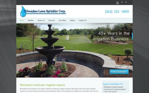 Screenshot of Home Page milwaukeelawnsprinkler.com - Milwaukee Irrigation   Sprinkler Systems   Lawn Sprinkler   Milwaukee, WI - captured Oct. 9, 2014