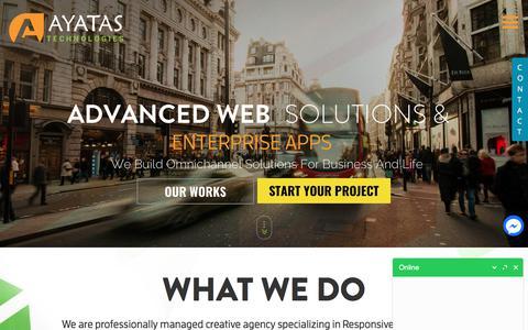 Screenshot of Home Page ayatas.com - Professional Web Design Company - Ayatas Technologies - captured Oct. 9, 2017