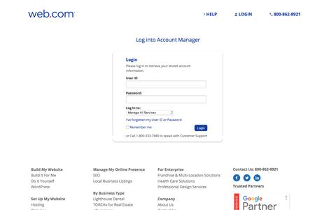 Screenshot of Login Page web.com - Account Manager Login | Web.com - captured Aug. 15, 2019