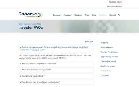 Screenshot of FAQ Page conatuspharma.com - Investor FAQs | Conatus Pharmaceuticals - captured Oct. 19, 2018