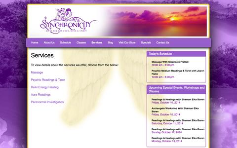Screenshot of Services Page synchronicityny.com - Services | Synchronicity | Brewster NY - captured Oct. 7, 2014