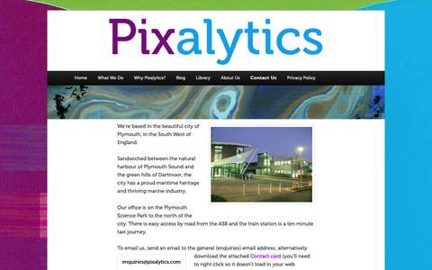 Screenshot of Contact Page pixalytics.com - Contact Us | Pixalytics Ltd - captured Sept. 28, 2018