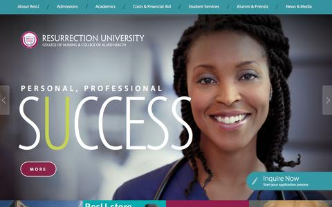 Screenshot of Home Page resu.edu - Best Nursing Schools in Chicago, IL | Resurrection                    University - captured Feb. 15, 2016