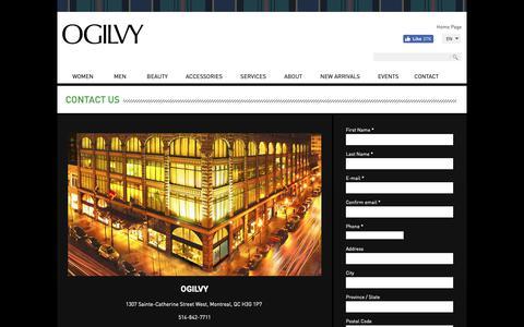 Screenshot of Contact Page Hours Page ogilvycanada.com - La Maison OGILVY   Contact Us - captured Dec. 13, 2018