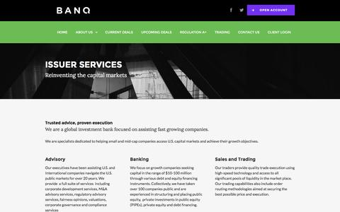 Screenshot of Press Page banq.co - Issuer Services - captured July 20, 2016