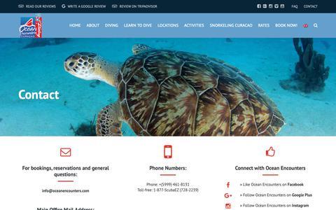 Screenshot of Contact Page oceanencounters.com - Contact - Ocean Encounters Curacao - captured Oct. 20, 2018