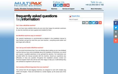 Screenshot of FAQ Page multipak.co.uk - Multipak | Frequently Asked Questions | Multipak Packaging Machinery - captured Oct. 18, 2018