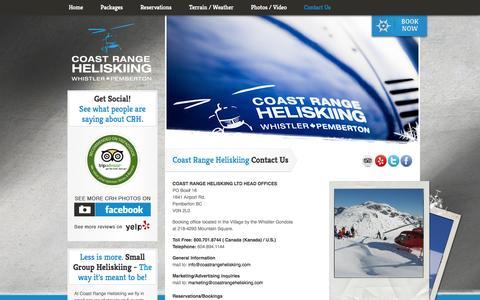 Screenshot of Contact Page coastrangeheliskiing.com - Contact Us  - Coast Range Heliskiing - captured Sept. 30, 2014