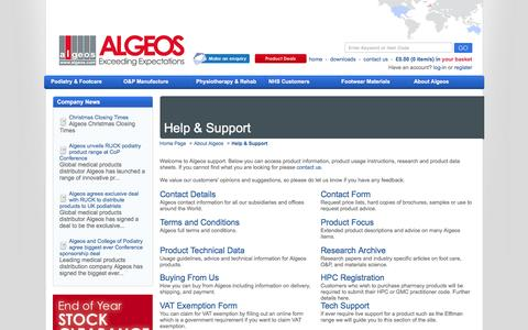 Screenshot of Support Page algeos.com - Algeos Support - captured Feb. 2, 2016