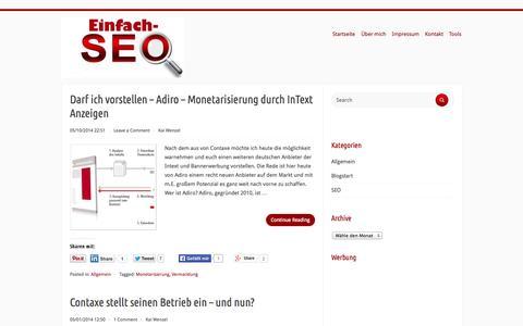 Screenshot of Home Page einfach-seo.tk - Einfach-SEO - SEO Tips und Vermarktungsmöglichkeiten - captured Sept. 19, 2014